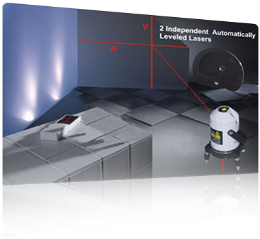 2 Independent automatically leveled lasers